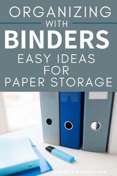 Paper Organizing with Binder Organization System. This is a simple system if you are feeling overwhelmed by paperwork! How to organize your paperwork with binders. A great way to have everything easily accessible. Set up your own binder organization system today. #organizingmoms