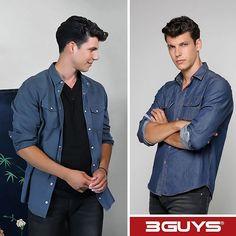 Denim Button Up, Button Up Shirts, Cute Boys, Greek, Shirt Dress, Celebrities, Mens Tops, How To Wear, Dresses
