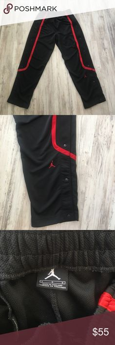 JORDAN Snap Down Warm Up Pant Full snap down warm up pant from JORDAN line black and red detail size L Jordan Pants Sweatpants & Joggers
