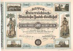 Österreichisch-Überseeische-Handels-Gesellschaft Actie 500 Gulden, Nr. 897 Wien, 24.9.1887