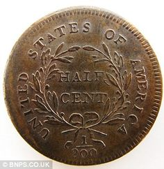 Rare half cent coin discovered in a matchbox during attic clear-out sells for Heads or tails: Family members of Mark Hillary were & with their luck at finding his rare coin in an attic Buy Coins, Coins Worth Money, Valuable Coins, Coin Worth, American Coins, Gold And Silver Coins, Coin Values, Old Money, Antique Coins