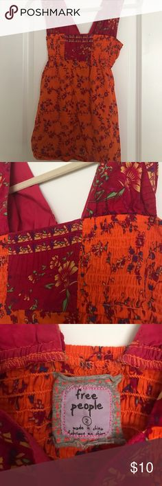 Free People top Free People top, size 2. Floral design in orange and red. Free People Tops Blouses