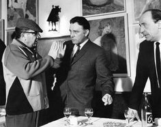 """Martin Ritt directing Richard Burton and Michael Hordern in """"The Spy Who Came in From the Cold """". Ritt was known for his handling of actors; this was Burton's best screen performance."""