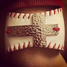 Baseball cross cuff by KatrinasKreations23 on Etsy