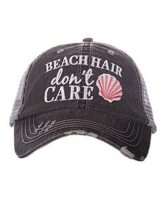 Loving this Gray & Coral 'Beach Hair Don't Care' Trucker Hat on #zulily! #zulilyfinds