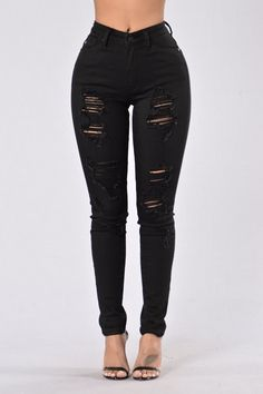 - Available in Black and White - High Waisted - Distressed - Skinny Leg - 97% Cotton, 3% Spandex