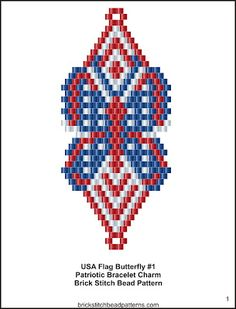 USA Flag Butterfly #1 Patriotic Seed Bead Charm Pattern pg 1