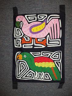 Kuna Tribe Mola Flamingo Bird Tapestry Panama San Blas-12.60144