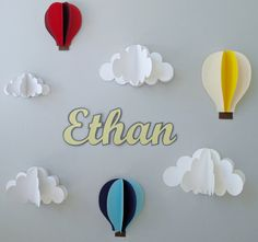 Custom Name Wall Art-Hot Air Balloons and Clouds 3D Paper Wall