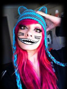 cheshire cat makeup | Cheshire Kyatto (Cheshire Cat) make up !!! Cheshire Cat Makeup, Cheshire Cat Costume, Halloween 2015, Halloween Make Up, Halloween Face Makeup, Halloween Ideas, Cat Costumes, Halloween Costumes, Costume Ideas