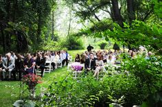 wonderful woodsy location! Note Unusual aisle configuration: There is a traditional aisle but bridal party entered from a 2nd aisle in the middle of the chairs. See other pics