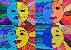 Cool vs. warm art lesson http://arteascuola.com/2015/04/sun-and-moon-in-warm-and-cool-colors/