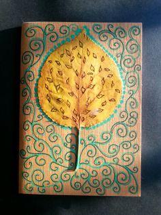 Diy notebook. Doodle illustration on leaf.