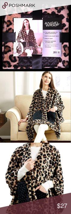 Angel Wrap Blanket Angel Wrap Blanket with Two Satin Pockets, 50✖️60, Leopard Print. Intimates & Sleepwear Robes