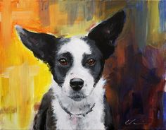 Long Eared, Border Collie, Shepherd MIx, Mutt on Abstract Background - original acrylic painting by Clair Hartmann