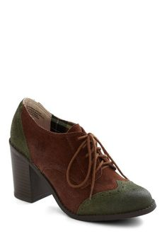 Oxford Common Heel by BC Shoes - Mid, Leather, Suede, Brown, Green, Solid, Menswear Inspired, Lace Up, Chunky heel, Scholastic/Collegiate