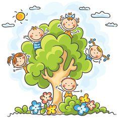 Buy Kids playing in the Tree by katya_dav on GraphicRiver. Happy kids playing in the tree Cartoon Kids, Cute Cartoon, Clipart, Drawing For Kids, Art For Kids, Art Corner, In The Tree, Free Vector Art, Happy Kids