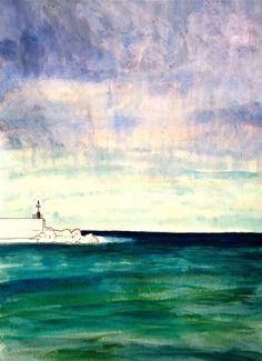 """Portale n.27"". A melancholic sky meeting a blue-green sea… painting by Cristina Sammarco"