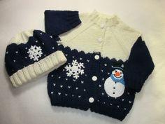 Babyjacke+Babymütze+gestrickt+Größe+86/92+Schnee+von+Jutta´s+ZauberStrick+auf+DaWanda.com