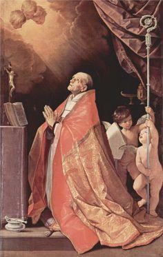Guido Reni. San Andrés Corsini en oración, 1635. óleo sobre lienzo. Galleria Corsini. WikiPaintings.org