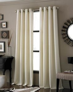 Greg/Slade walls and dramatic ivory curtains Drapes And Blinds, Grommet Curtains, Valances, Br House, Guest Bed, Guest Rooms, Bedroom Decor, Bedroom Curtains, Bedrooms