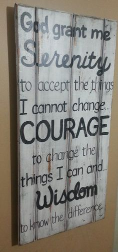 AA Serenity Prayer Inspirational SIGN Reclaimed Cabinet Door White Grey Alcoholics Anonymous Distressed Hand-painted Wooden 33x19 Whagn