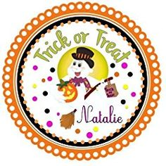 """40 Labels 2"""" Round Personalized Halloween Trick or Treat Custom Labels, Party Favors - CHOICE OF SIZE Halloween Labels, Halloween Trick Or Treat, Halloween Stickers, Halloween Fun, Personalized Stickers, Coupon Spreadsheet, Custom Labels, Party Favors, Coding"""