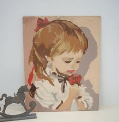 Vintage Paint By Numbers Little Girl with Bouquet