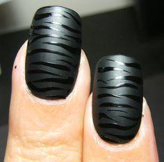 Matte & Gloss black zebra design #nails #polish