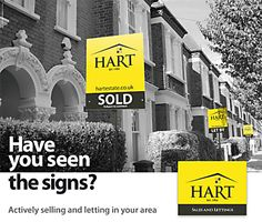 A joint sales and lettings flyer design using both Sold and Let boards in a black and white street scene