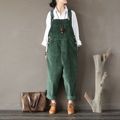 Johnature Original Cotton Corduroy Women Vintage Rompers 2017 Autumn Winter Loose Strap Thick Warm Pocket Jumpsuits