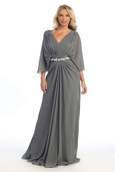 *New Long Mother of the Bride Groom Plus Size Formal Gown Dress Sleeves Covered*