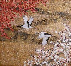 平松礼二 『飛翔』 日本画 61.0×65.0cm