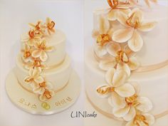 H26.  Hääkakku orkidean kukilla.  Wedding cake with orchids