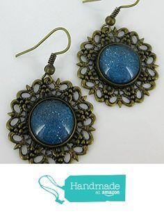 Antiqued Gold-tone Blue Glitter Glass Medallion Dangle Earrings Hand-painted from Summerfield Collection https://www.amazon.com/dp/B0713SXJR2/ref=hnd_sw_r_pi_dp_rItdzbX78HMM7 #handmadeatamazon