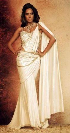White saree     Designer: Tarun Tahiliani