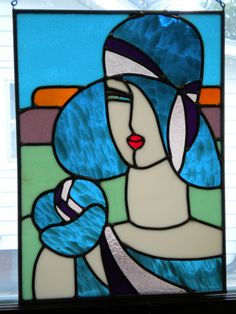 Art deco stained glass lady.  I love art deco and stained glass so creating this was such great fun