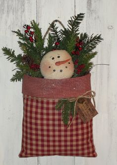 Winter Snowman Face Wall Pouch with Pine and Berries …
