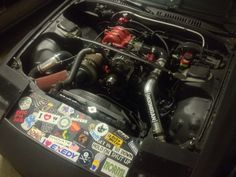 """My fc3s rx7 build almost finished . Running a 6 port keg with t2 intake manifolds , holset hx-52 turbo ,fmic 4-3 """" turbo back exhaust 800 primes , 1600 sec's , walbro , e6k haltech tuning on 93 ."""