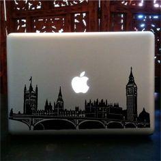 London skyline macbook laptop skin vinyl decal, big ben,UK,Palace of Westminster Macbook Pro Skin, Macbook Pro Laptop, Laptop Skin, Laptop Cases, Macbook Stickers, Macbook Decal, Mac Skins, Turtle Silhouette, Clown Paintings