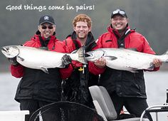 Good things come in pairs! A repeat performance; another two Chinook salmon caught in Naden Harbour. Repeat, Salmon, Fishing, Pairs, Good Things, Seasons, Seasons Of The Year, Atlantic Salmon, Peaches