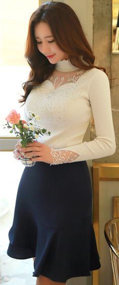 StyleOnme_Asymmetrical Ruffle Hem Skirt #navy #sweet #pretty #elegant #feminine #girlish #ruffle #skirt #koreanfashion #kstyle #seoul #datelook #kfashion