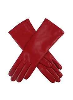 17-1035 Women's plain leather glove with the finest Scottish cashmere lining.