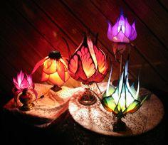Silk Flower and Faerie Lights — Little Wing Faerie Art Flower Lamp, Flower Lights, Butterfly Lamp, Mood Light, Lamp Light, Hanging Lights, Fairy Lights, Trip The Light Fantastic, Lampe Applique