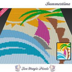 Looking for your next project? You're going to love Summertime graph crochet pattern by designer TwoMagicPixels. Graph Crochet, Crotchet Patterns, Baby Afghan Crochet, C2c Crochet, Crochet Blankets, Corner To Corner Crochet, Graph Design, Bobble Stitch, Yarn Colors