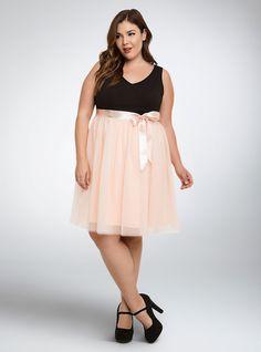 Plus Size Tulle Skirt Skater Dress, PALE BLUSH