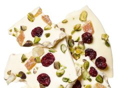 Pistachio-Cranberry-Candied Orange Bark recipe from Food Network Kitchen via Food Network (I like that this has candied orange peel)