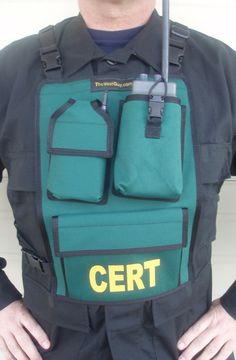 CERT Chest Pack Deluxe features a radio pocket, a GPS and cell phone pocket, a 6x8 pocket with a slip pocket behind it. The entire pack has a sleeve pocket with a velcro closure along the top. Each CERT chest pack is FULLY adjustable & comfortable. Made to order so you can request specific alterations; Pocket size & placement, colors, name tags, anything you want. Backed by TheVestGuy.com 's lifetime warranty.