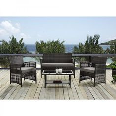 #Patio #Sofa Set #Wicker #Furniture Glass Top Table 3-Piece #Outdoor #Rattan Chairs