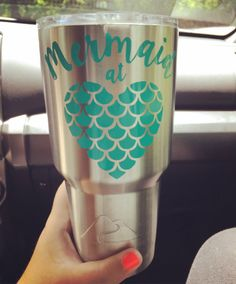 Mermaid at Heart Decal Mermaid Decal Yeti Cup by StuckOnRoberts Vinyl Crafts, Vinyl Projects, Diy Craft Projects, Decals For Yeti Cups, Yeti Decals, Vinyl Decals, Wall Vinyl, Wall Stickers, Wall Decals